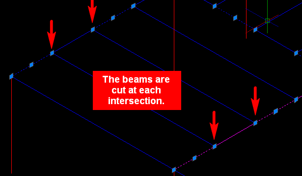 The beams are cut at each intersection