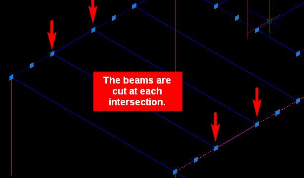 Les poutres sont coupées à chaque intersection