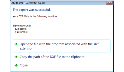 Dialog which appears on successful export